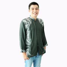Hansen & Lisa Baju Koko Lengan Panjang Motif Bordir Shield - Hijau Tua