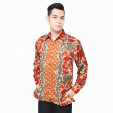 Hansen & Lisa Kemeja Batik Sutra Lengan Panjang Flowerline - Merah