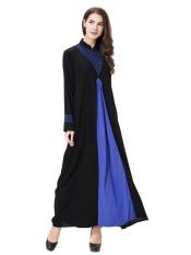 HANYIMIDOO TH901 untuk Wanita Muslim Lady Lengan Panjang O Leher Gaun Maksi Wanita Robe Nasional Retro Gaya Pakaian (Biru) -Intl