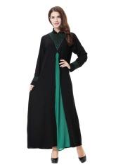 HANYIMIDOO TH901 untuk Wanita Muslim Lady Lengan Panjang O Leher Gaun Maksi Wanita Robe Nasional Retro Gaya Pakaian (Hijau) -Intl
