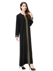 HANYIMIDOO TH902 untuk Wanita Muslim Lady Lengan Panjang O Leher Gaun Maksi Wanita Robe Nasional Retro Gaya Pakaian (Emas) -Intl