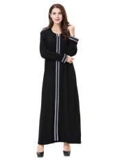 HANYIMIDOO TH902 untuk Wanita Muslim Lady Lengan Panjang O Leher Gaun Maksi Wanita Robe Nasional Retro Gaya Pakaian (Grey) -Intl