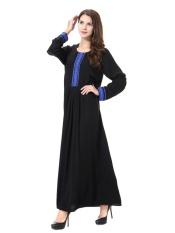 HANYIMIDOO TH903 untuk Wanita Muslim Lady Lengan Panjang O Leher Gaun Maksi Wanita Robe Nasional Retro Gaya Pakaian (Biru) -Intl