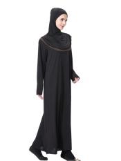 HANYIMIDOO TH904 untuk Wanita Muslim Lady Lengan Panjang O Leher Gaun Maksi Wanita Robe Nasional Retro Gaya Pakaian (Kopi) -Intl