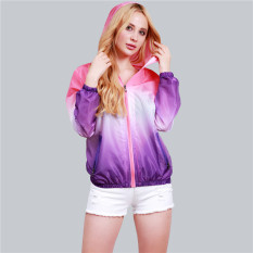 Hanyu 2016 Unisex Fashion Langsing Sports Luar The Crowd Pakaian Rak Berlengan Panjang Sinar Uv Wanita Ritsleting Jaket Berwarna Merah Muda Purple Original