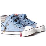 Review Pada Hanyu Casual Canvas High Top Tali Sepatu Datar Untuk Bayi Laki Laki Biru Muda