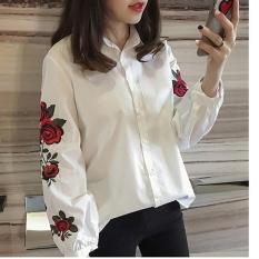 Toko Hanyu Korea Wanita Kasual Panjang Lengan Blus Floral Bersulam Kemeja Bergaris Tops Putih Intl Online