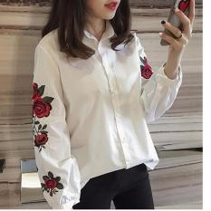 Toko Hanyu Busana Korea Wanita Kasual Lengan Panjang Blus Floral Bersulam Kemeja Panjang Lengan Bergaris Tops Putih Terdekat