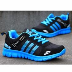 Harga Hanyu Pria Outdoor Sport Jogging Running Sepatu Sneakers Kasual Mesh Bernapas Pelatih Rendah Cut Flat Shoes Biru Intl Hanyu Baru