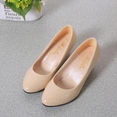 Hanyu Baru Busana Wanita OL Karir Rendah Tumit Runcing dengan Mulut Dangkal Sepatu Kulit Pendudukan Wanita Sepatu Tunggal Pumps (Beige) -Intl
