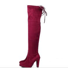 Jual Hanyu Pemukiman Bahan Kimia Fashion Kulit Wanita Tinggi Tumit Sepatu Bot Merah Anggur Lutut Dia Branded
