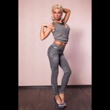 Beli Hanyu Wanita Imitasi Cowboy Jeans Jegging Legging Wanita Dark Grey Pinggang Tinggi Skinny Jeans Pensil Tombol Intl Terbaru