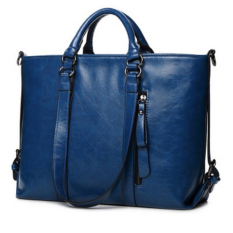 Review Tentang Hanyu Wanita Lady Fashion Vintage Pu Leather Simple Solid Big Shoulder Bag Tote Bag Blue Intl