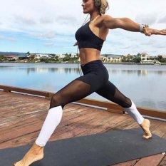 Hanyu Wanita Patchwork Yoga Celana Olahraga Workout Berlari Cepat Kering Celana Perempuan Gym Fitness Kompresi Stretch Slim Tights Legging (hitam & Putih) -Intl