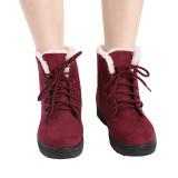 Beli Hanyu Sepatu Salju Boots Martin Boots Outlet Tahan Terhadap Udara Ladis Sepatu Anggur Merah Baru