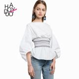 Toko Haoduoyi2017 Shishang Musim Gugur Baru Lentera Lengan Baju Kemeja Putih Baju Wanita Baju Atasan Kemeja Wanita Blouse Wanita Lengkap Tiongkok