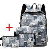 Harga Haotom Cotton Bag Fashion Trend Backpack High G*Rl Boy Gaya Korea Kampus Sederhana Canvas Backpack Outdoor Intl Baru