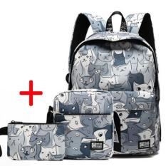 Haotom Cotton Bag Fashion Trend Backpack High G*rl Boy Gaya Korea Kampus Sederhana Canvas Backpack Outdoor Intl Haotom Diskon