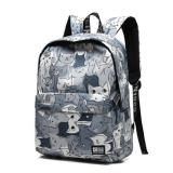 Jual Haotom Cotton Bag Fashion Trend Backpack High G*rl Boy Korean Style Campus Simple Canvas Backpack Outdoor Intl Branded Murah