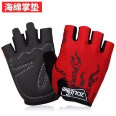 Spesifikasi Haotom Mens Dan Wanitas Outdoor Mountaineering Sepeda Kebugaran Shockproof Non Slip Olahraga Sarung Tangan Half Finger Sarung Tangan Dan Harganya