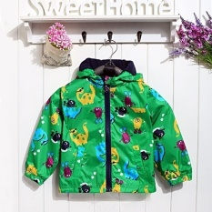 Harga Happycat 2016 Hot Kids Boy Baby Hooded Jaket Mantel Pakaian Bersepeda Hoodies Raincoat Topeng Kartun H T Green 130 Terbaik