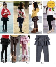 Happycat 2016 Anak Girls Kue Culottes Legging dengan Tutu Rok Pants-Hitam/Putih/Kopi/Abu-abu- INTL