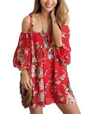 Toko Happycat Stylish Ladies Wanita Off Tali Bahu Flare Short Casual Mini Gaun Chiffon Yang Irlandia Merah S Not Specified Di Tiongkok