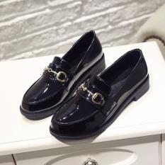 Review Toko Harajuku Inggris Musim Semi Dan Musim Gugur Baru Siswa Sepatu Wanita Sepatu Kulit Kecil Hitam Bergesper