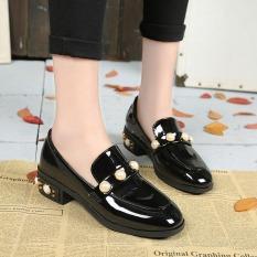 Harga Harajuku Inggris Musim Semi Dan Musim Gugur Baru Siswa Sepatu Wanita Sepatu Kulit Kecil Hitam Mutiara Baru Murah