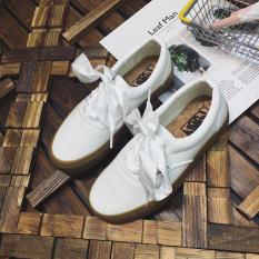 Penawaran Istimewa Harajuku Korea Fashion Style Angin Sepatu Putih Sol Tebal Sepatu Kanvas Putih Terbaru