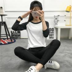 Harajuku Korea Modis Gaya Angin Siswa Leher Bulat Lengan Panjang Kaus Pakaian Wanita Baju Musim Gugur (Abu-abu) baju Wanita Baju Atasan Kemeja Wanita