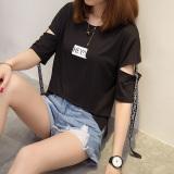 Spesifikasi Harajuku Korea Fashion Style Baru Angin Mengambang Tali T Shirt 613 Hitam Baju Wanita Baju Atasan Kemeja Wanita Yang Bagus