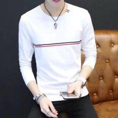Harga Harajuku Korea Fashion Style Murah Lengan Panjang T Shirt Red Label Lengan Panjang Putih Baju Atasan Kaos Pria Kemeja Pria Yang Murah Dan Bagus
