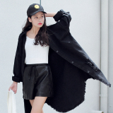 Iklan Harajuku Korea Fashion Style Musim Semi Dan Musim Gugur Baru Angin Jeket Jeans Hitam