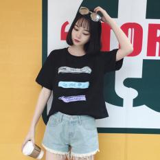 Harajuku Korea Modis Gaya Perempuan Angin Awal Musim Semi Atasan Kaos (Hitam)