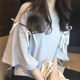 Jual Harajuku Korea Fashion Style Perempuan Angin Ukuran Besar Atasan Kaos Abu Abu Biru Branded Original