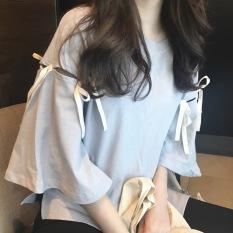 Spesifikasi Harajuku Korea Fashion Style Perempuan Angin Ukuran Besar Atasan Kaos Abu Abu Biru Paling Bagus