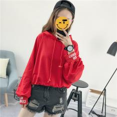 Harga Harajuku Korea Fashion Style Perempuan Berkerudung Lentera Lengan Jas Kaos Sweater Merah Baju Wanita Baju Atasan Branded