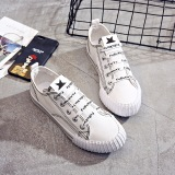 Review Terbaik Harajuku Korea Fashion Style Perempuan Datar Huruf Sepatu Sekolah Baru Kanvas Sepatu Putih Sepatu Wanita Sepatu Sport Sepatu Sneakers Wanita