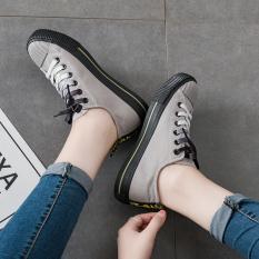 Harajuku Korea Gaya Modis Perempuan Musim Semi Baru Sepatu Kanvas Kets Putih (Model Wanita + Abu-abu l61)