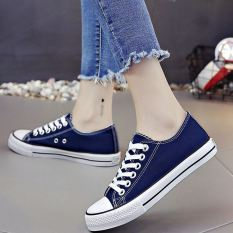 Diskon Harajuku Korea Fashion Style Pergelangan Kaki Tinggi Kanvas Sepatu Sepatu Kets Putih Rendah Biru Other Di Tiongkok