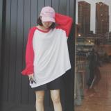 Harga Jingnimeng Kaos Wanita Kombinasi Warna Lengan Panjang Merah Besar Baju Wanita Baju Atasan Kemeja Wanita Oem Asli