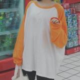 Jual Jingnimeng Kaos Wanita Kombinasi Warna Lengan Panjang Oranye Baju Wanita Baju Atasan Kemeja Wanita Oem Di Tiongkok
