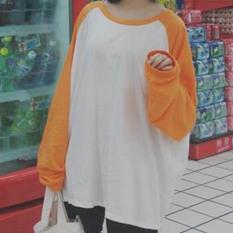 Jingnimeng Kaos Wanita Kombinasi Warna Lengan Panjang (Oranye) baju wanita baju atasan kemeja wanita