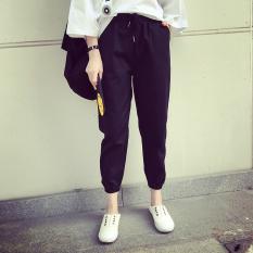 Celana Harem Wanita Aneka Warna Lurus/Jogger Gaya Sekolahan (铁绳 hitam)