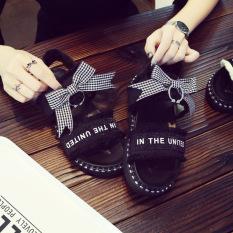 Harajuku Sandal Summer Korea Fashion Style Baru Sepatu Sekolah Perempuan (Hitam)