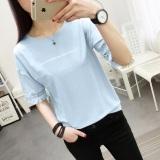 Katalog T Shirt Lengan Setengah Wanita Gaya Korea 365 Biru 365 Biru Terbaru