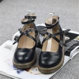 Harajuku Sepatu Kulit Musim Semi Putaran Sepatu Imut Gadis Hitam Other Diskon 50