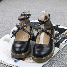 Toko Harajuku Sepatu Kulit Musim Semi Putaran Sepatu Imut Gadis Hitam Other