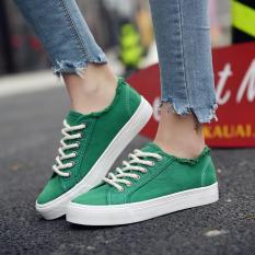 Harajuku Musim Semi Baru Flat Shoes Wanita Kanvas Sepatu Sepatu Kets Putih Hijau Terbaru